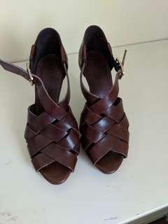 *BRAND NEW* J CREW leather wooden heel