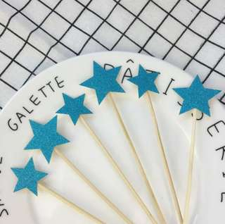 6 pc Glitter Blue Stars Birthday Cake Topper Happy Bunting Party Decoration Cupcake Decor Toppers