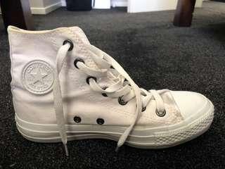 All white converse- S6