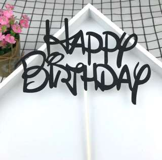 #6 Happy Birthday Cake Topper Black Bunting Party Decoration Cupcake Decor Toppers
