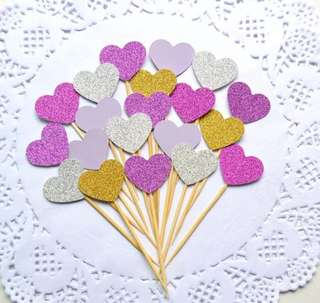10 pc Glitter Hearts Pink Cupcake Topper Happy Birthday Cake Bunting Party Decoration Decor Toppers