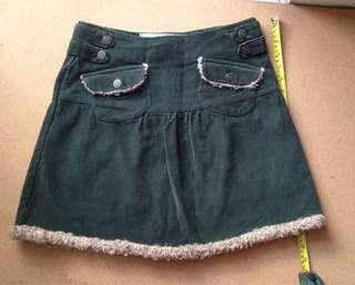 Corduroy olive skirt
