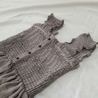 Korean Gingham Knee-length Dress