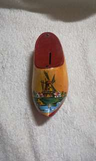 Vintage Wooden Hand Painted Holland Shoe Coin Bank