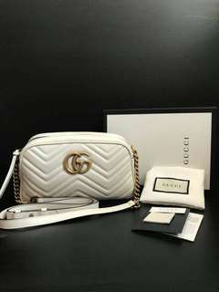 NBU Gucci Marmont camera small white GHW comes w care card,leather sample dust bag & box
