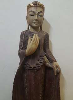 Vintage Standing wood buddha statue
