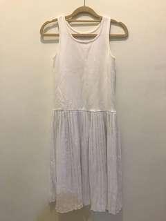 白色 百褶裙 背心洋裝