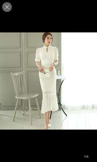 White lace Long dress gown
