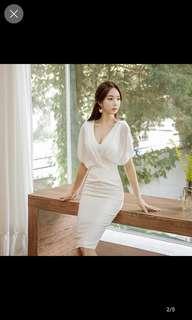 White drape long dress