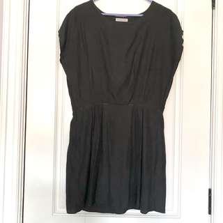 Black dress with pleats