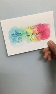 A6 Handlettered Birthday Cards