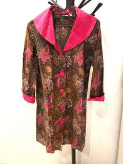 Pink brown batik dress