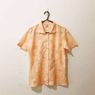 🚚 古著 橘色 雕花 簍空 透視感 夏日 涼爽 棉麻 上衣 短線襯衫