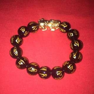 *FS138* Gold Plated Pi Xiu Obsidian Bracelet