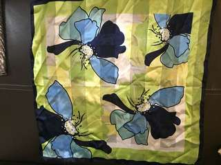 Floral blue square scarf/bag accessories