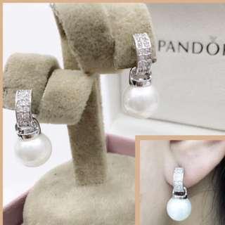 Pandora pearl huggies earrings