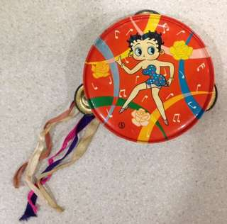 RARE Vintage 1930's Betty Boop Tin Litho Toy Tambourine Made In Japan