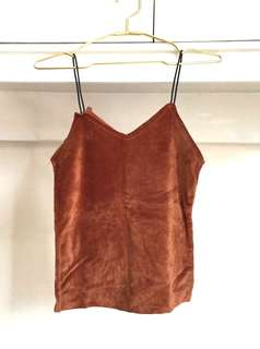 Brown Suede Strap Top