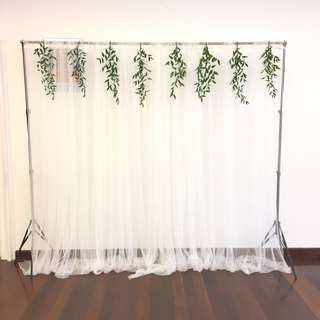 White Tulle Curtain with Fresh Greens Wedding Deco Backdrop / Event Styling
