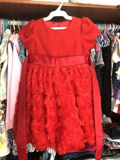 6T red tulle dress semi gown