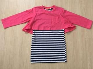 Pink Long Sleeves Mini Dress