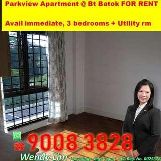 Condo for rent Parkview Apt (Bt Batok) 3 bedrooms