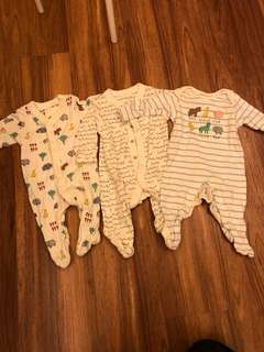 Marks & Spencer Barnyard Animal Footed Sleepsuits (0-3months)
