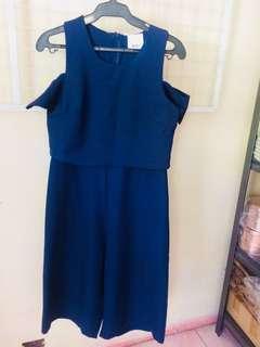 Romper/ midnight blue color/ back zipper/