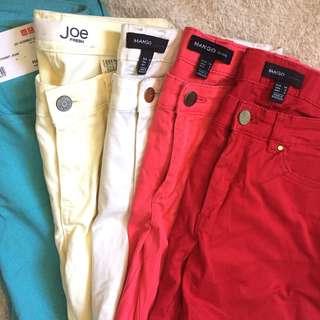 Mango, Uniqlo, Joe Fresh Colored Skinny Pants S 26 27 28