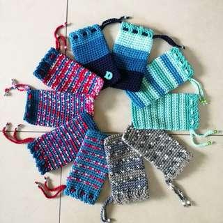 Crocheted multi purpose pouchs