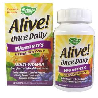 Way Nature's Way, Alive! Once Daily Women's Ultra Potency Multi-Vitamin, 60 Tablets