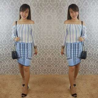 Offshoulder top and skirt terno