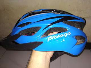 Helm Sepeda Prologo Monaco Blue with lamp. 2nd