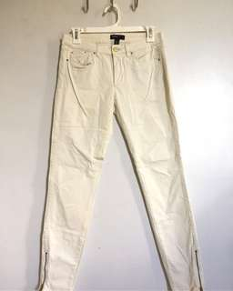 Authentic Mango MNG Casual White Skinny ankle zip jeans 26 27
