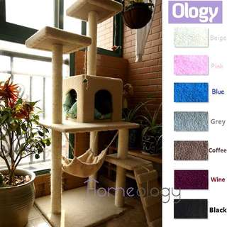 Pet Station! Adult Cat Scratching Tree w Hammock Kitten House Tower Kitty Condo
