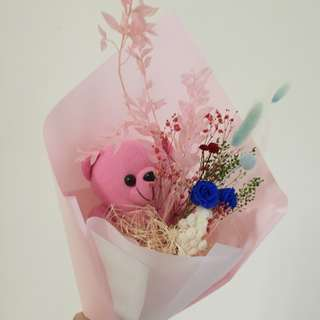Bouquet with bears / preserved flowers, everlasting.....