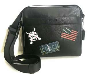 Coach charles CAMERA BAG IN Black Stickers Patches Size: 28cm x 25cm
