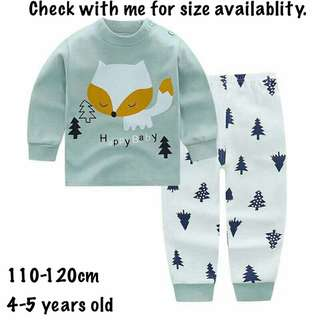 Fox kids pajamas long sleeve set