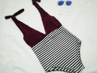 Maroon Stripes Swimsuit