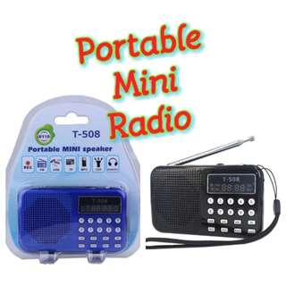 T-508 digital radio Mini Speaker portable Radio FM Receiver rechargeable battery support SD/TFcard music player