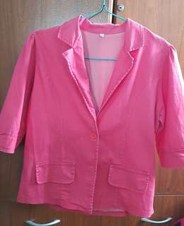 Pink 3/4 sleeves blazer for plus size women