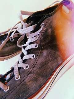 Black acid wash high cut converse