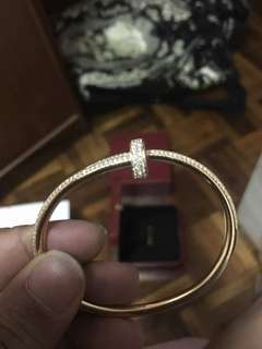 Authenrtic Cartier Juste Un Clou Rose Gold w Diamond bangle