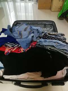 Giving away - Used clothes, old luggage, inflatable seat