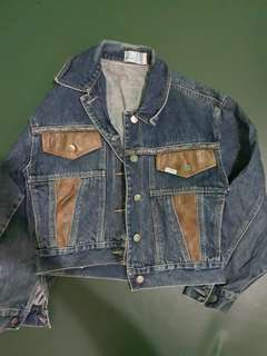 Denim Jacket with leather detail