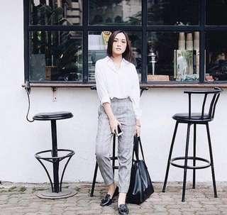 Celana Zara Checker Trousers Wedges Knit Plaid Pants