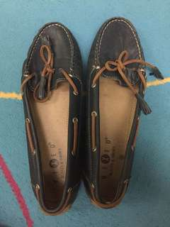 Blue leather boat shoes