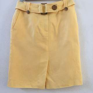 Talbots Petites Linen Yellow Belted Skirt