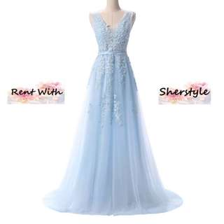 👭 Baby Blue Lace and Pearl Dinner Dress (RENTAL)