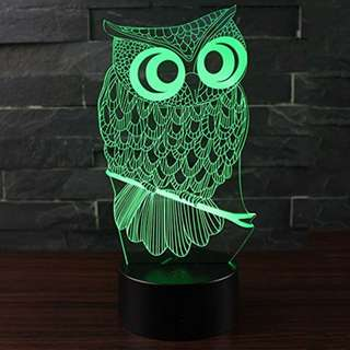 Erhard Owl 3D Night Light Table Desk LED Lamps 7 Colors